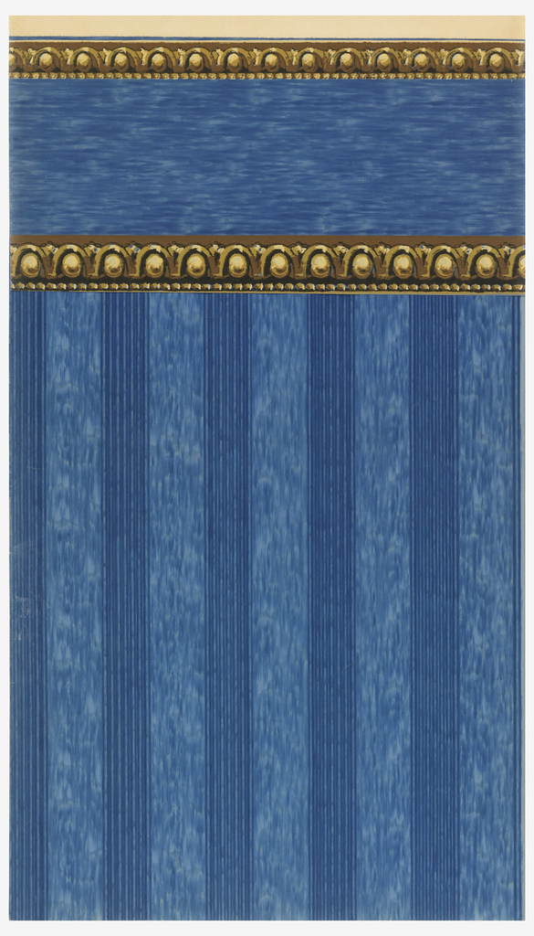 Double band of egg and dart architectural molding on blue striae ground