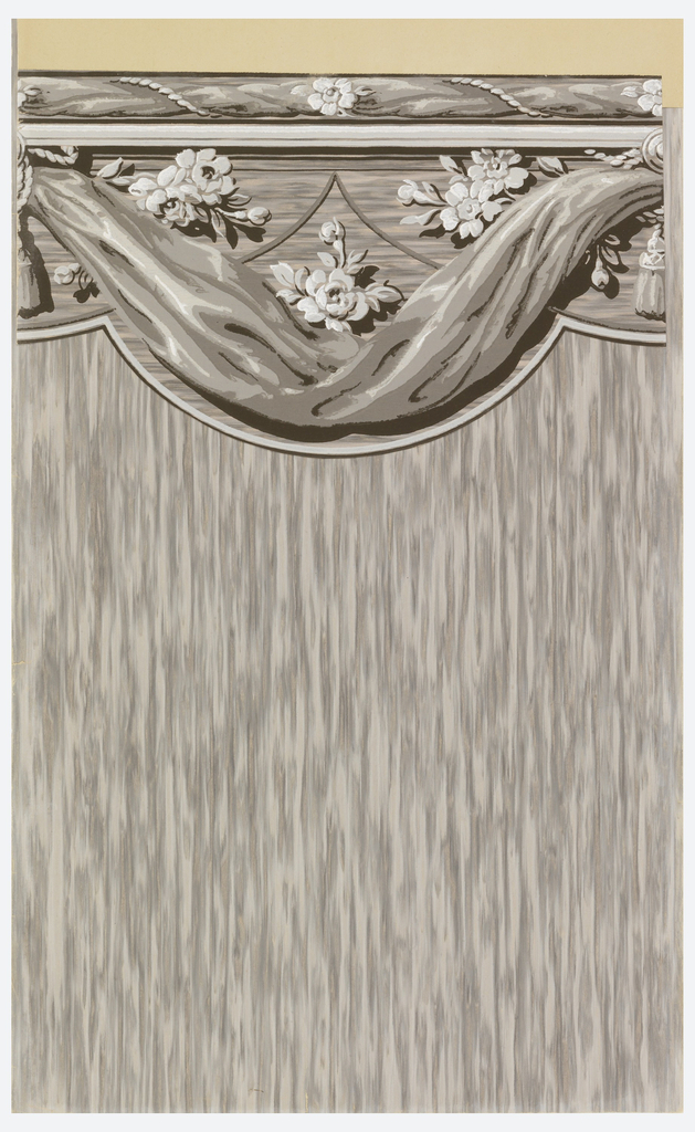 Cut-out border with scalloped bottom edge. Drapery swag in grisaille or shades of gray, with three groupings of white flowers above. White outline at bottom edge of border.