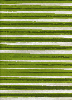 Length of woven fabric with horizontal stripes giving the illusion of two strokes of green marker crossing at a shallow angle, and terminating just before the selvedge at each side. Offered in nine colorways.
