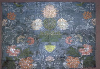 Woven, symmetrical arrangement of multicolor flowers on a blue background.