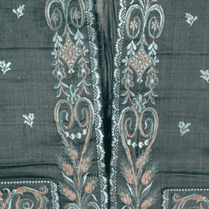 Waist-length, strait-hem waistcoat with standing collar and welt pockets. Brown satin ground embroidered with pale green, peach and ivory silk in satin stich. Scattered flowers throughout, with wheat sheaves and scrolls along center and pockets, scallops along bottom and center.