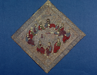 """Tilted square depicting 'The Last Supper""""; inscription border in Greek lettering and some Greek inscriptions in field. Red, blue, green silk on gold and silver ground."""