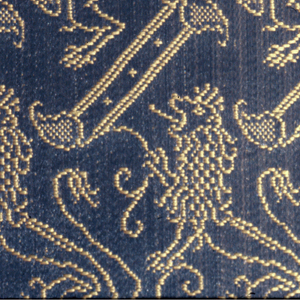 Lions and diagonal bars in blue and gold.