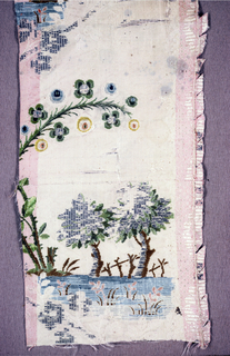 White horizontally ribbed ground. Traces of vertical stripe in extra warp, but nearly worn away. Brocaded design in pink, tan, green, yellow, blue, and silver metallic thread. Design shows large drooping branch with flower heads and two curving trees, a pond and rustic fence in the background.