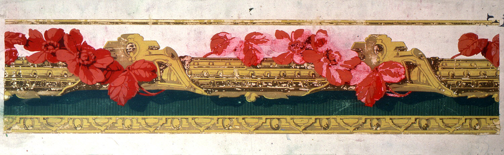 Yellow and gold architectonic imitation carved molding, with green band and red flowers wrapped around, entwined. Vining floral wrapped rod runs through center of design, background is white above, green below. Architectural molding across bottom edge.