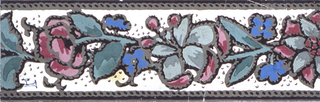 Narrow border: imitation embroidery on white ground, pink and blue flowers with imitation stitching on brown edge lines and outlining flowers.