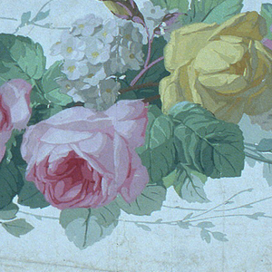 a,b) On white ground, criss-crossing vines with pastel roses, lavender flowers.