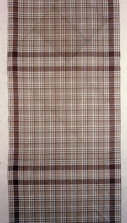 Rectangular brown and white gingham plaid bandana.
