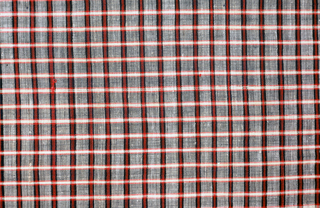 Gingham in dark blue, red, white and green.