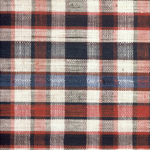 Square handkerchief in a small-scale, even plaid of brown, green, blue, and white.