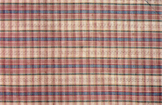 Gingham square in blue, green, brown, yellow and red.