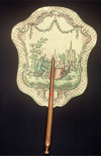Handscreen with a paper leaf engraved with a scene of a man playing flute and a woman holding a music score in a garden setting, surrounded by garlands and a lattice border. Reverse: hand-painted landscape with a waterfall.
