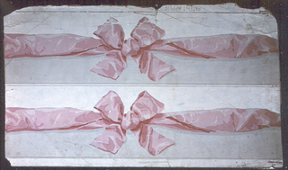 "a) Gray and white ground areas divided by crumpled pink ribbon with bow. Two strips printed side by side on one length; b) same; c) same, except blue ribbon. a,b,c) Gray edge lines.  a,b,c) Embossed: ""Ericson & Weiss designers/ Paris/New York"" a&c) Printed in margin: PATENT APPLIED FOR"" b&c) stamped recto ""F"""