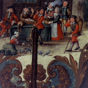 Handscreen with hand-painted paper leaf and turned wood handle. Obverse: interior scene showing man seated before fire receiving game and food offerings from visitors; in the foreground, a woman releases birds from a cage.  Reverse: paper painted with flowers, with three applied engravings showing French text on paper.