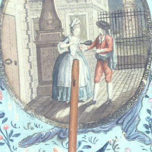 """Handscreen with paper leaf and turned wood handle. Obverse: engraved and hand-colored medallion shows a woman pouring a man a drink outside a building, at night. Reverse: dialogue from the opera """"Les Deux Avares (The Two Misers)"""" by André Grétry."""