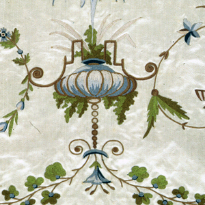 Strip of white silk satin embroidered with chain stitch in green, blue and grey silk showing a design of floral arabesques terminating in butterflies. At center, a fountain with bandelwerk. Selvedge on two sides, strips of pink with three pines of metal yarns, and a narrow border of three red warps.