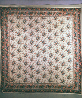 "Mezzaro in a multicolored design on an ivory ground. Ground of swirling lines with realistically-rendered floral sprays and a floral border. Initials ""C.P."" embroidered in red cross stitch in upper right corner."