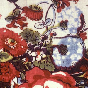 Mezzaro in a multicolored design on a white ground. Center shows a large-scale tree with many different blossoms. Small flanking tree on either side. Floral sprays, insects, birds, and animals over the ground. Double floral border.