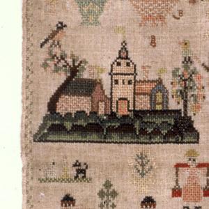 Narrow border enclosing detached motifs showing wedding (?), castle, biblical scenes, figures representing Justice and Hope, birds, animals, plants.