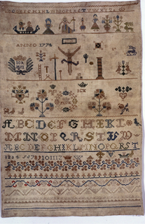 Alphabets, numerals, flowers, symbols of the Crucifixion, and figures, with geometric borders, arranged in horizontal rows.