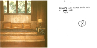 Low rectangular base (a) and rectangular matress (b), both covered in brown leather.