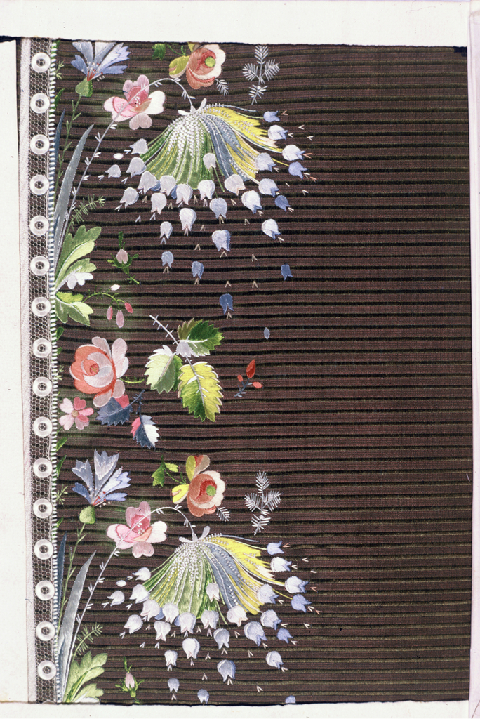 Multicolored silk embroidery in a floral design and net applique on a ground of green and light brown silk striped cloth.