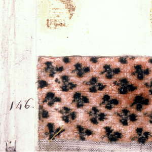 Ten small manufacturer's samples of waistcoat velvets. Small conventionalized floral designs in chiné technique. Two have satin stripes.