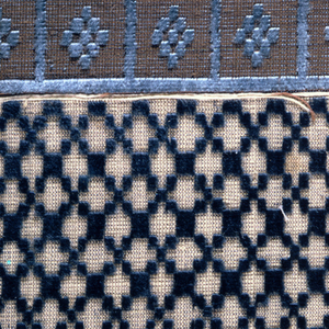 Six small manufacturer's samples of waistcoat velvets. Geometric small-scale ground patterns with stripes or border designs of chiné technique in tiny conventionalized flower designs.