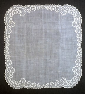Square handkerchief of sheer white cotton with border design of scallops and eyelets embroidered in white cotton.