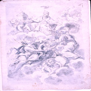 """A figure of a woman in the attire of a Pope is seated on clouds and supports the mantle of a church, together with angels. A dove flies above her; more angels are attendant at right. The woman addresses herself to the kneeling allegorical figure of """"Strength,"""" while """"Abundance"""" gazes up to her. Angels and an escutcheon are shown in the lower center. Verso: rough sketch; """"Abundance"""" seems to be seated beside the Church. An angel flies beside the lower part of the kneeling figure of """"Strength."""""""