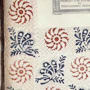 Book in which are mounted 165 samples of laces made by the women of the Pesco Constanzo district in Italy. Also see: record for 1939-28-1-b, which is the matching case/cover for this sample book.
