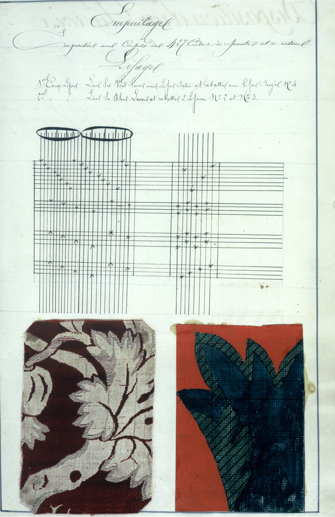 """Uncompleted book written in delicate longhand labelled on title page; """"Theorie des Etoffes Unies et Faconnees"""".  Contains 131 samples of fabrics, 99 mises-encarte, numerous sketches for heddle arrangements, technical drawings and descriptions of fabrics."""