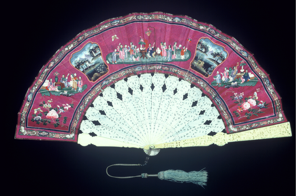 Pleated fan. Silk leaf painted in tempera. Obverse: three figure groups, medallions showing landscapes and bunches of flowers. Reverse: painted textiles in design of central medallion showing a group of people, surrounded by twelve smaller ones with people, animals, birds and flowers. Ivory sticks carved in lace-design. Silk tassel.