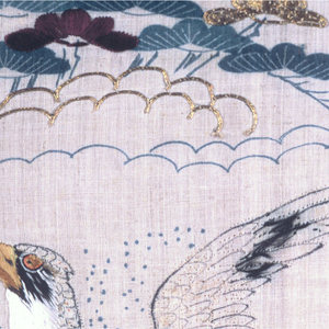 """White """"grass cloth"""" kimono, printed in blue and brown ink and embroidered in colored silks and  metallic yarns with pine trees, bamboo, plum blossoms, clouds, a stream crossed by a bridge, birds, etc. Lined in silk."""