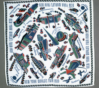 White souvenir handkerchief decorated with scenes of the New York World's Fair of 1939. Included are the Hall of Communication, Perisphere and Trylon, Textile Building, Railroad Building and more. Printed in red, green and blue.