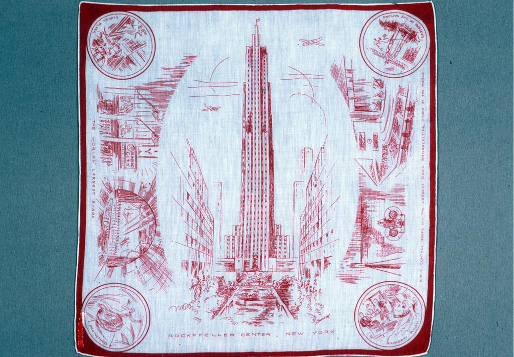 White souvenir handkerchief decorated with scenes of Rockefeller Center. Signed Burmel.