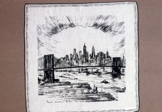 White commemorative handkerchief printed in green in a design showing views of New York City that include the East River, Brooklyn Bridge and Lower Manhattan.