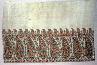 Fragment of a shawl border with an ivory colored field and a deep boder of boteh or paisley forms filled with tiny floral forms. Flanked top and bottom with a narrow band with a repeating design of carnations, alternating frontal and profile view. Above, a smaller row of paisleys is adjacent to the field. In shades of red and blue.