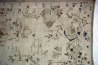 """Eight people holding sprays arranged in the form of a wreath around """"Ann Mack 1800.""""  Lion, man on horseback, a burrow, headless animal and a building labeled """"Melville Castle."""""""