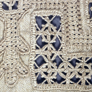 Unfinished sampler of embroidery and cutwork in Renaissance designs.