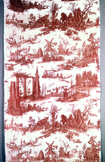 Textile printed in red on white ground showing six vignettes with country scenes, one with the tomb of Jean Jacques Rousseau.