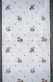 Delicate serpentine foliage and flowers in fancy weave formed by floats of white silk wefts on plain weave ground. Floral bouquets brocaded in colored silks.