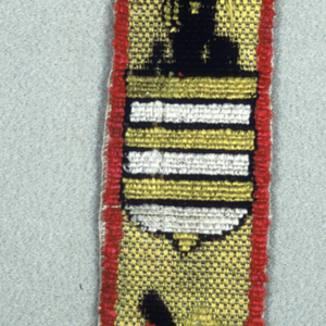 Two shields, each topped with plume helmet, one showing a castle, and the other, horizontal bars. Colors are black, red, and white on yellow ground.