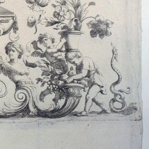 """Two Indian girls dance to the music of a lute player, on a platform which is supported by half-figures of harpies.  Snakes hiss at plants in pots supported by puttos.  The original signature """"Loire fecit"""" in the bottom center."""