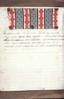 Notebook with handwritten formulas for dyestuffs for printed textiles. Contains 108 swatches.