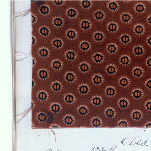 "Notebook with handwritten formulas for dyestuffs to be used for printing textiles. Contains 218 samples in various designs and brilliant colors. Label on cover reads: ""DELAINS FOR 1867-68."""