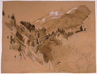 View of a valley between two wooded hillsides with snow-covered mountains in right distance.
