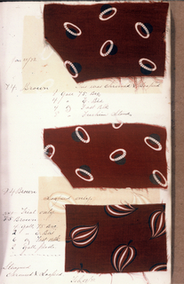 Notebook with handwritten formulas for dyestuffs to be used for printing textiles.  Book contains 118 samples in various designs. Label on cover reads Trial Book 2.