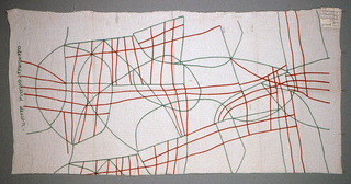 Abstract design of intersecting, non-directional lines printed in orange and green on white.