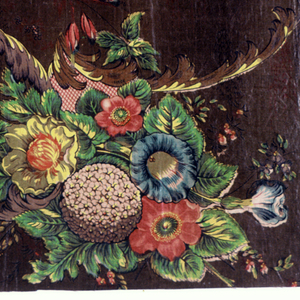 Flower sprays and acanthus scrolls rendered in a very decorative way. Birds sitting on acanthus leaves. Printed in green, blue, red, and brown on a tan ground.